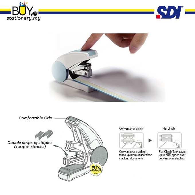 SDI One-Touch No.10 Less Effort Double Strip Stapler 1113C - (1s/CARD)