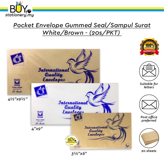 Pocket Envelope Gummed Seal /Sampul Surat White / Brown - (20s/PKT)
