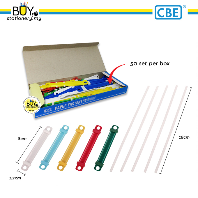 CBE Paper Fasteners Colourful Plastic 8cm (50sets/BOX)