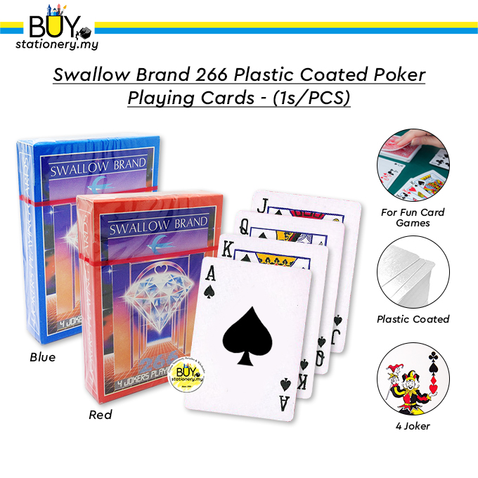 Swallow Brand 266 Plastic Coated Poker Playing Cards - (1s/PCS)