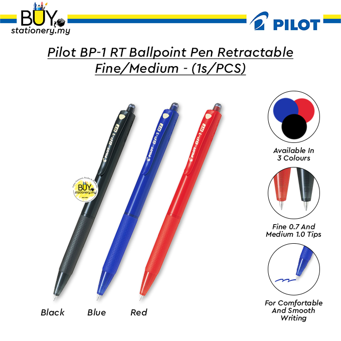 Pilot BP-1 RT Ballpoint Pen Retractable Fine 0.7 / Medium 1.0 - (1s/PCS)