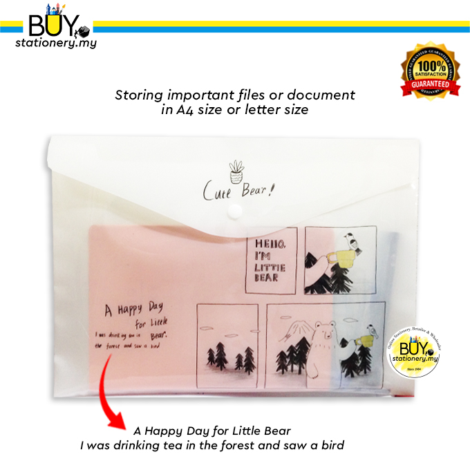 A4 White Document File Cute Bear - (PCS)