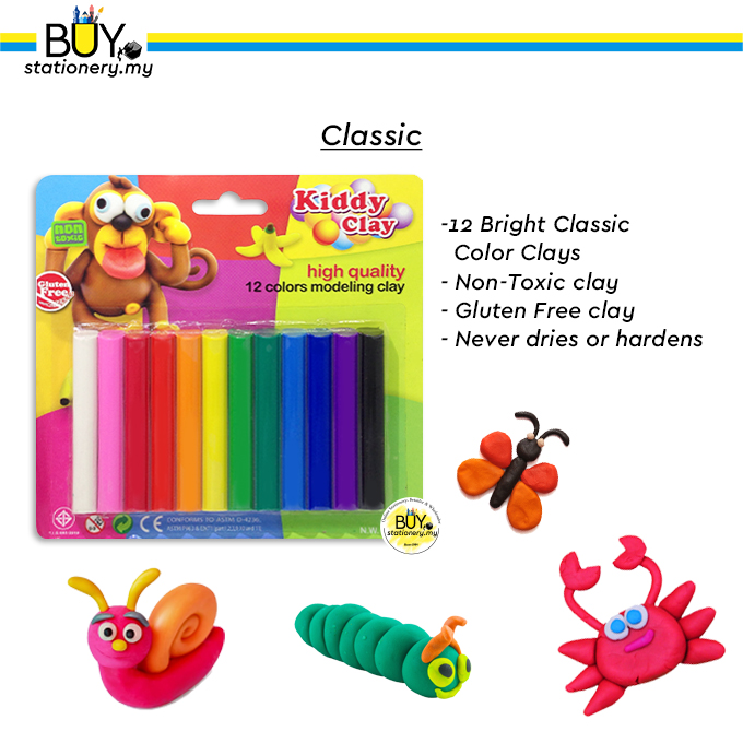 Kiddy Clay Modeling Clay 12s - (CARD) [Spend min. RM70 on Art & Craft Products for FREE GIFT]