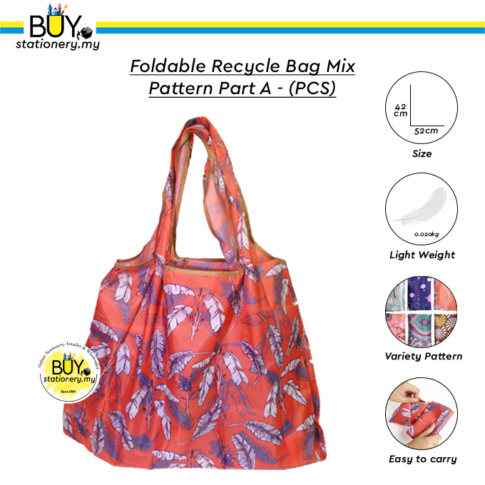 Foldable Recycle Bag Mix Pattern Part A Large - (PCS)