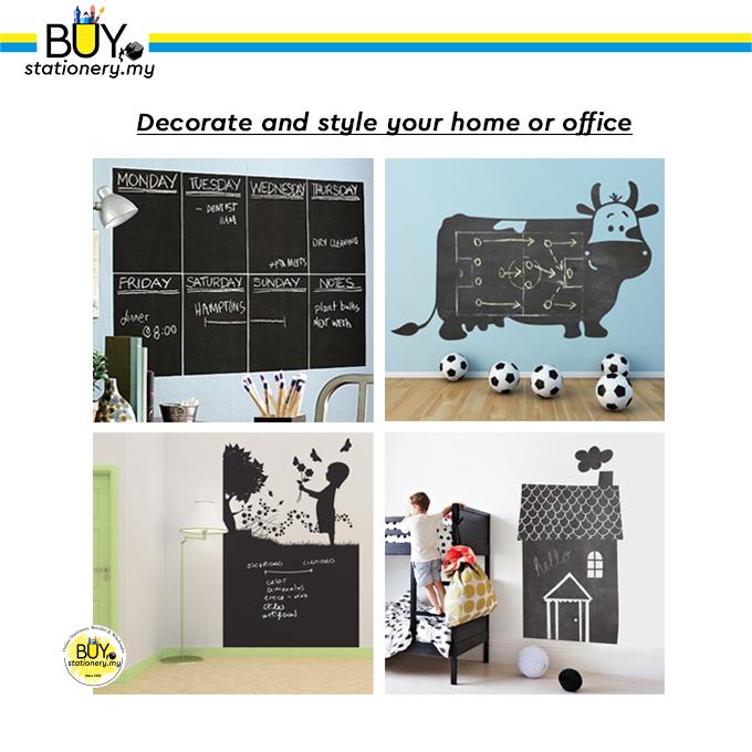 Black Board Wall Sticker 2Metre + Chalk - (ROLL)