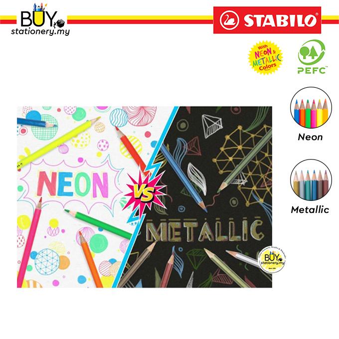 Stabilo Swans Colored Pencil with Neon & Metallic Colors 24L/36L/48L (BOX)