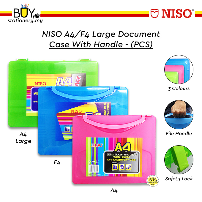 NISO A4/F4 Large Document Case With Handle - (PCS)
