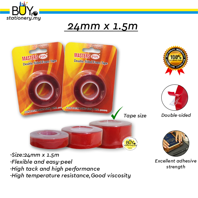Masters Acrylic Transparent Double-sided Foam Tape 1.5M 12mm/18mm/24mm - (ROLL)